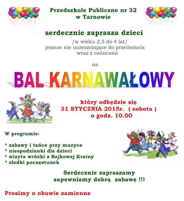 Zaproszenie Na Bal Dla Dzieci Jeszcze Nie Uczęszczających Do Naszego