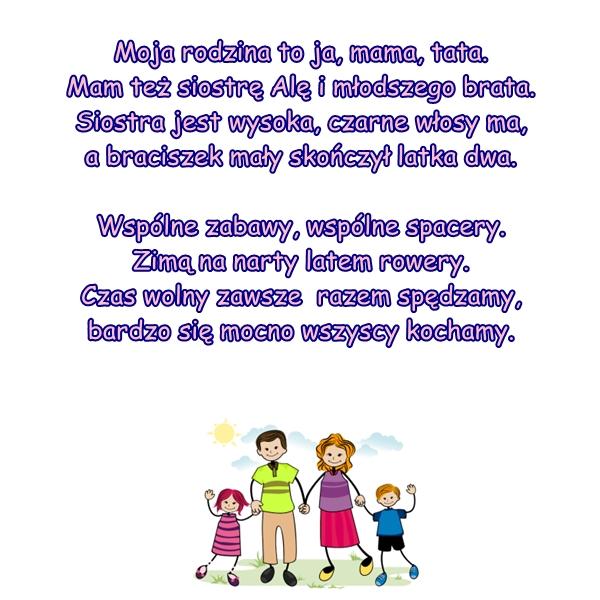 Wiersz Pt Moja Rodzina Autor B Forma