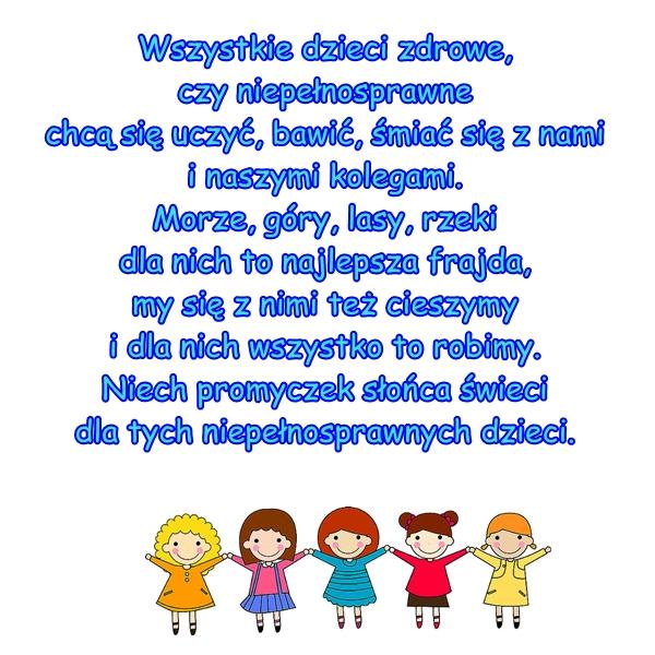 Wiersz Pt Wiersz Dla Niepełnosprawnych Autor M Brzozowska