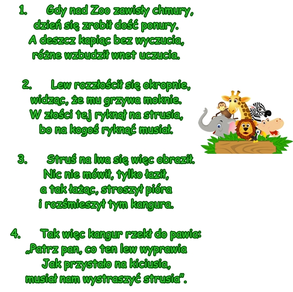 Wiersz Pt Zoo W Deszczu Autor A Borowiecka