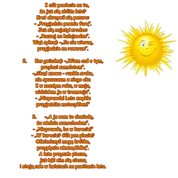 Wiersz Pt Przyjście Lata Autor J Brzechwa
