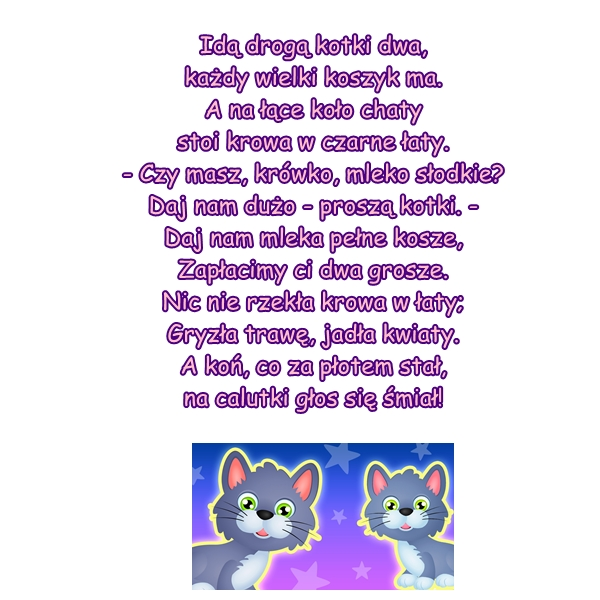 Wiersz Pt Dwa Kotki Autor H Bechlerowa
