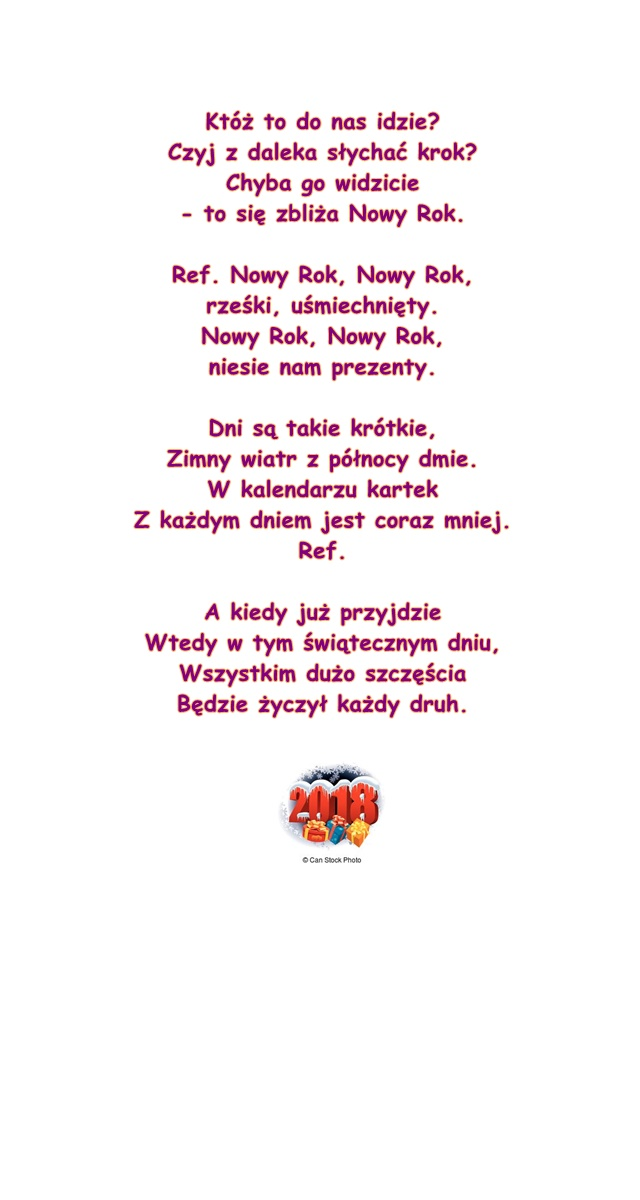 Piosenka Pt Nowy Rok Sł M Maksymkin Muz K Daczka