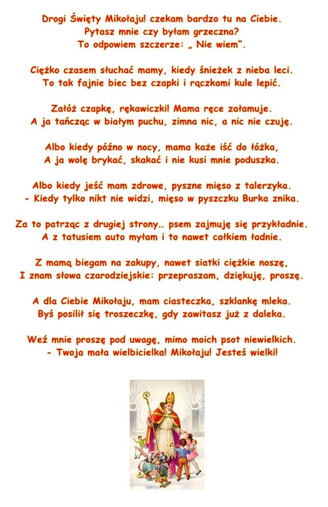 Wiersz Pt List Do Mikołaja Dorota Kluska