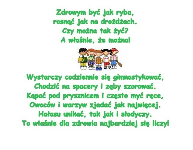 Wiersz Pt Zdrowym Być B Szelągowska